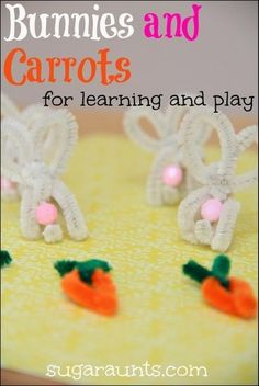 Make bunnies and carrots with pipe cleaners.  We've used them for counting, sorting, patterns, and math.  These Spring-time manipulatives are great for pretend play, too. [Sugar Aunts]