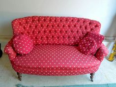 don't think I'm crazy...but I'm loving this adorable settee for your kitchen.  Tuck in front of the windows.  would need to recover, but I LOVE the lines of this little couch!