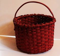 early cranberry painted basket