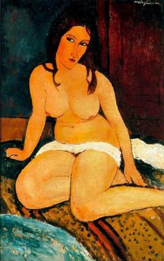 Seated nude, 1909 (oil on canvas) , Modigliani, Amedeo / Amedeo Modigliani, Italian Painters, Italian Artist, Chef D Oeuvre, Oeuvre D'art, Pinturas Art Deco, Figure Painting, Painting & Drawing, Edgar Degas