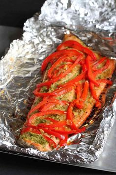 Easy Grilled Pesto Salmon in Foil Recipe...254 calories and 6 Weight Watchers PP