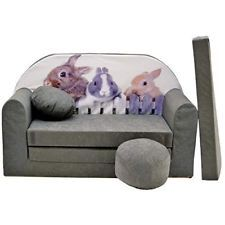 Details About Childrens Grey Sofa Bed Toddlers Sleepover Pouffe