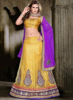 Mystic Yellow #Net #Lehenga #Choli