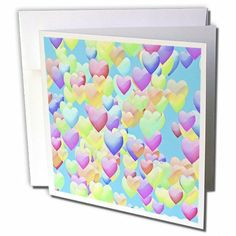 gc_44389_1 Lee Hiller Designs Holidays Valentines Day - Valentines Days Puffy Rainbow Hearts on Bright Blue - Greeting Cards-6 Greeting Card... by Lee Hiller #Photography and Designs