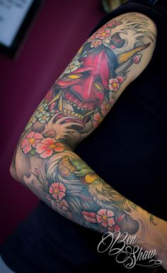 Japanese mask sleeve by Ben Shaw - Octopus Tattoo, Derby, UK