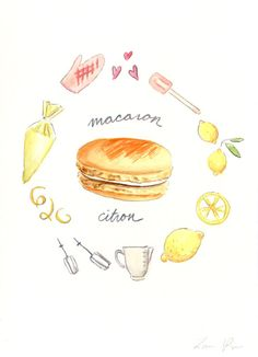 Lemon Macaron Recipe - Hand-painted Watercolor print 5 x 7 - Paris French Laduree Herme Bakery Citron