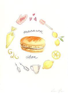 Lemon Macaron Recipe - Hand-painted Watercolor print 5 x 7 - Paris French Laduree Herme Bakery Citron. $20.00, via Etsy.