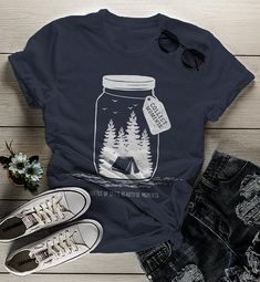 Women's Camping T Shirt Mason Jar Graphic Tee Collect Moments Hipster Shirts Tent TShirt Camper