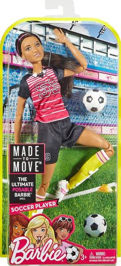 Barbie Made To Move Soccer Player Doll - African American