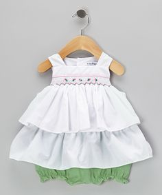 White Smocked Tiered Dress & Green Gingham