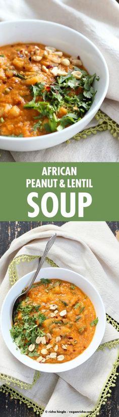 African Peanut Lentil Soup. African Peanut Stew with lentils and veggies. | VeganRicha.com #vegan #glutenfree #stew #recipe