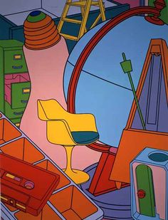 Michael Craig-Martin, Inhale (Yellow)  Try using only flat colours from a still life you have created, no textures--shapes and colour added in. Use a variety of primary & secondary colour schemes.