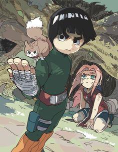 rock lee, naruto, and sakura haruno image Fan Art Naruto, Anime Naruto, Naruto Cute, Otaku Anime, Manga Anime, Naruto Shippuden Sasuke, Naruto Sasuke Sakura, Gaara, Sakura Haruno