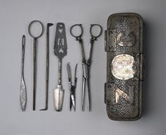 Antique English surgical instruments and case, circa 1650