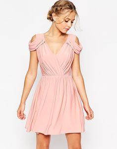 ASOS WEDDING - Mini robe drapée à épaules dénudées