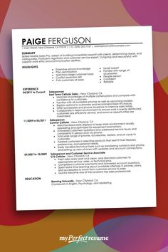 12 best perfect resume examples images on pinterest in 2018 sample