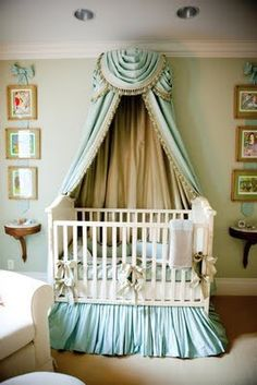 Love muted mint and neutral tones!! Elegant victorian baby nursery decor using modern furniture! Bravo!