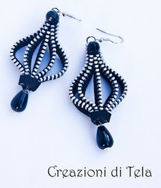 Earrings with zippers and semi-precious stones - NOT A TUTORIAL, JUST AN IDEA