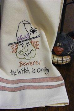 Bird Brain Designs - embroidery, redwork designs, redwork patterns, wool, penny rug, kits, patterns, needlework supplies. FREE Halloween Tea Towel Design