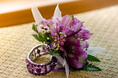 Purple alstro, wax flower wrist corsage with bling bracelet.