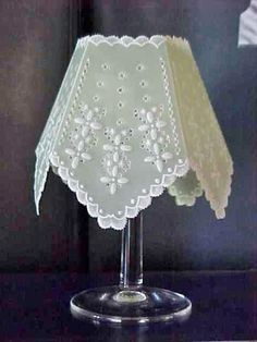 Pergamano Wineglass shade - the tealight candle goes inside the wineglass at dinner party and the shade over the glass!