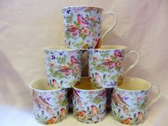 Set of 6 china British birds on blue palace mugs