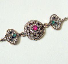 Vintage Ruby Emerald Bracelet  SALE Natural Ruby And by JanEleven, $199.00