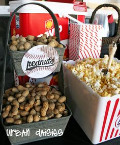 Baseball Party - Find more Sports Party Ideas at… Baseball Birthday Party, Sports Birthday, Sports Party, 6th Birthday Parties, Birthday Fun, Birthday Ideas, Softball Party, Vintage Baseball Party, Sports Snacks