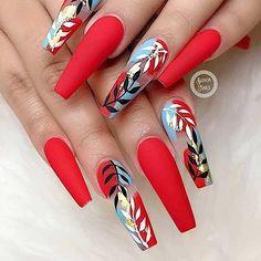 Cute Acrylic Nail Designs, Red Nail Designs, Beautiful Nail Designs, Red Acrylic Nails, Summer Acrylic Nails, Pastel Nails, Coffin Nails Matte, Short Red Nails, Dark Red Nails