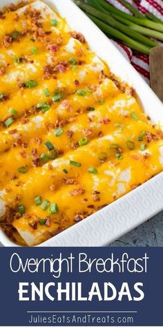 Overnight Breakfast Enchiladas ~ Tortillas stuffed with Sausage, Eggs,Cheese and. - Overnight Breakfast Enchiladas ~ Tortillas stuffed with Sausage, Eggs,Cheese and Bacon! Breakfast And Brunch, Breakfast Appetizers, Breakfast Dishes, Breakfast Ideas With Eggs, Blueberry Breakfast, Breakfast Cake, Egg Dishes For Brunch, Breakfast Lasagna, Italian Breakfast