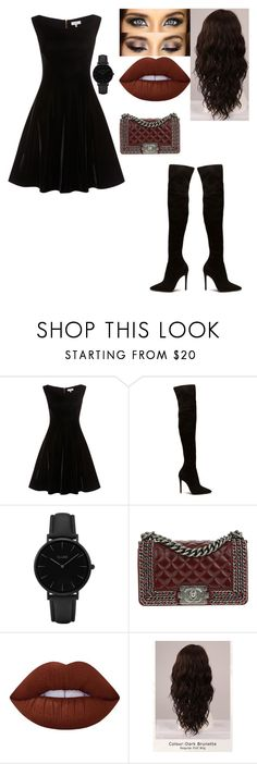 """""""love those fancy dark colors"""" by themaniacmakaila ❤ liked on Polyvore featuring CLUSE, Chanel, Lime Crime and WigYouUp"""