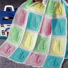 INSTANT DOWNLOAD PDF Crochet Pattern for a Kitty Cat Afghan Gorgeous baby afghan or cot blanket with kittens in relief. Popcorn stitch. Pretty pastel sugared almond shades of pink, blue, yellow, green and white Sports weight or 4ply yarn and 4.00mm crochet hook required. Finished blanket 35 x 45 inches - could be made to other sizes or into other items such as pillows and cushions This vintage US crochet and knitting booklet converted to a PDF that can be downloaded as soon as payment has...
