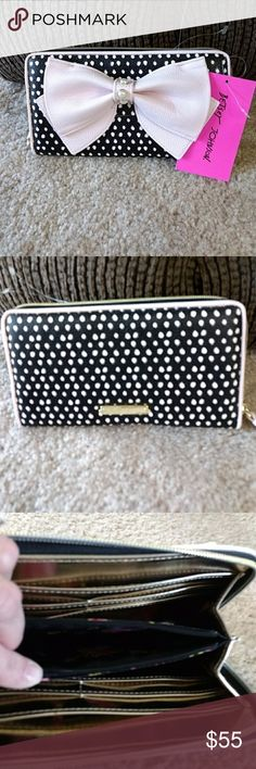 Betsey Johnson Wallet Adorable black and white poka dots with a pink bow and pink accents. Betsey Johnson Bags Wallets