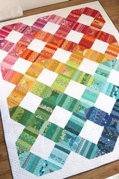 Scrap Happy Quilt in Love Patchwork and Quilting by Amy Smart Scrap Happy Quilt by Amy Smart featured in Issue 85 of Love Patchwork and Quilitng Magazine - perfect for using all of your favorite rainbow scraps. Patchwork Quilt Patterns, Crazy Patchwork, Patchwork Quilting, Patchwork Designs, Scrappy Quilts, Quilting Designs, Patchwork Ideas, Owl Quilts, Quilts For Beds