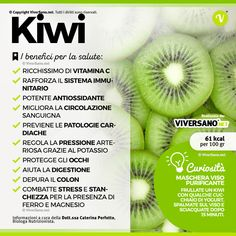 Kiwi: calories, properties, benefits and contraindications of f .- Kiwi: calorie, proprietà, benefici e controindicazioni del frutto Did you know that … the it is rich in vitamin C and strengthens the system . Health Diet, Health And Nutrition, Health And Wellness, Complete Nutrition, Precision Nutrition, In Natura, Natural Detox, Nutrition Information, Best Diets