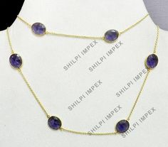 Vintage Style Brass 18k Gold Vermeil Amethyst Hydro Long Chain Promise Necklace #Handmade #Chain