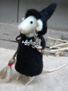 The Little Witch mouse; a needle felted ornament by feltingdreams