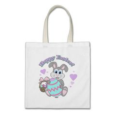 Happy Easter! Easter Bunny Canvas Bags   •   This design is available on t-shirts, hats, mugs, buttons, key chains and much more   •   Please check out our others designs at: www.zazzle.com/ZuzusFunHouse*