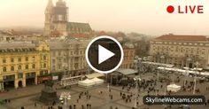 Veduta in diretta della piazza centrale e della cattedrale di Zagabria