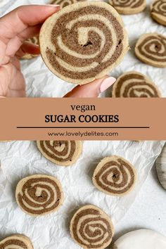 Cinnamon Roll Sugar Cookies are a sweet vegan cookie that will be loved by all. These cookies have a sweet crispy edge and soft chewy center. Vegan Sugar Cookies, Rolled Sugar Cookies, Cinnamon Rolls, Healthy, Sweet, Desserts, Candy, Tailgate Desserts, Deserts