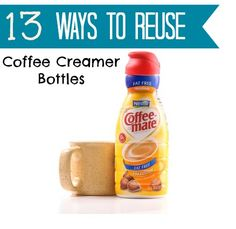~ Hate throwing away coffee creamer bottles? Here are 13 useful and creative ways to reuse them! Great uses for the home, crafting, & kid friendly ideas too!