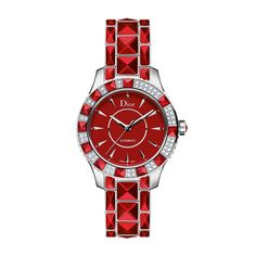 Dior Christal 38mm watch, with automatic movement, red lacquered oscillating weight, stainless steel casing, stainless steel, red sapphire crystal bracelet, moving casing set with pyramid-cut red sapphire crystals and red enamel face set with diamonds, price per request
