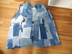 Vintage BoHo Blue Denim Jean Patchwork Runway Cape Hippie Poncho Jacket by trash5thave on Etsy