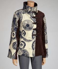 Take a look at this Indigo & Brown Toggle Jacket by Coline USA on #zulily today! Very interesting style.