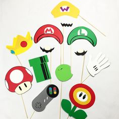 Check out this item in my Etsy shop https://www.etsy.com/listing/249302556/mario-photobooth-props