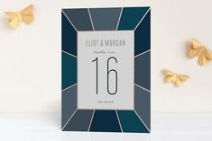 """Pavilion"" - Preppy Foil-pressed Wedding Table Numbers in Sea Glass by Sara Hicks Malone."