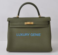 [SOLD] Brand New kelly 35cm Canopee Green Gold hardware Hermes SS 13 | Authentic Hermes Birkin and kelly bags! We are experts in sourcing the rare.