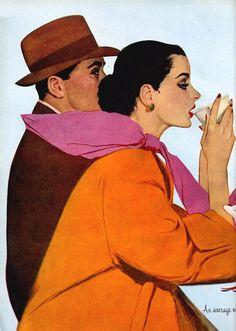 Maxwell Whitmore 1913-1988 | American Fashion painter and Magazine illustrator
