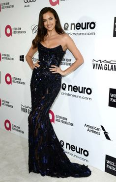 Model Irina Shayk was flawless in an Atelier Versace gown at the Elton John viewing party. #VersaceCelebrities #Oscars2014