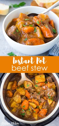 The Best Instant Pot Beef Stew! With tender pieces of beef potatoes and carrots in a rich and flavorful broth. This pressure cooker beef stew is a quick and easy twist on the classic recipe. One of our favorite healthy homemade family dinners! Instant Recipes, Instant Pot Dinner Recipes, Quick Beef Stew, Beef And Potato Stew, Stew Meat Recipes, Stewing Beef Recipes, Chicken Recipes, Crockpot Recipes, Keto Recipes